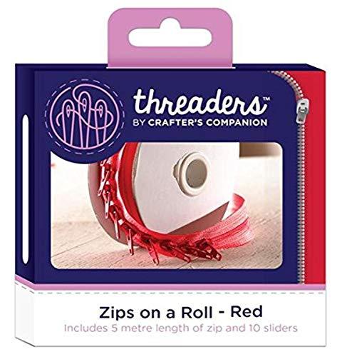 Threaders Zips On Rollo Cremalleras Continuas 5M con 10 Deslizadores para Proyectos de Costura Rojo, poliéster, 10.2 x 5.4 x 10.2 cm