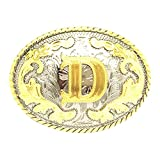 Western Belt Buckle Initial Letters ABCDEFG to Y-Cowboy Rodeo Gold Large Belt Buckle for Men and Women (D)
