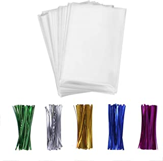 Cellophane Bags,200pcsTreat Bags with 200 Twist Ties 5 Mix Colors Good for Bakery, Cookies, Candies,Dessert,Popcorn (4'' x 6'')