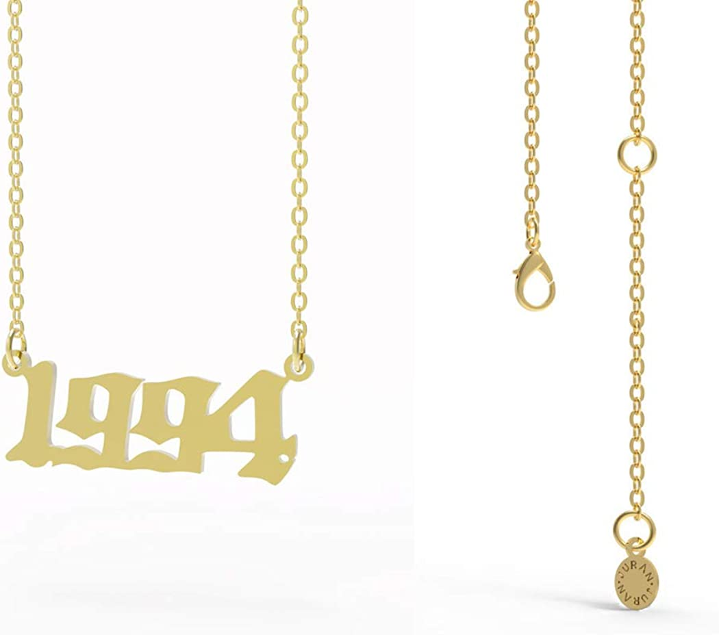 Personalized Birth Year National products 4 years warranty Number Necklace for and Girl Gold Women