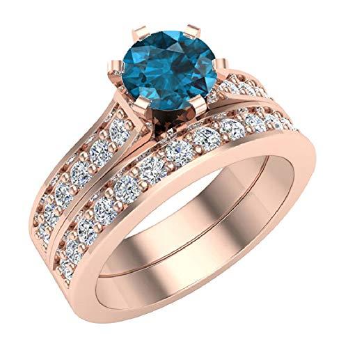 Glitz Design Mujer Niños Hombre Unisex oro 14 quilates (585) oro rosa 14ct redonda Round Brilliant Blue Diamante azul