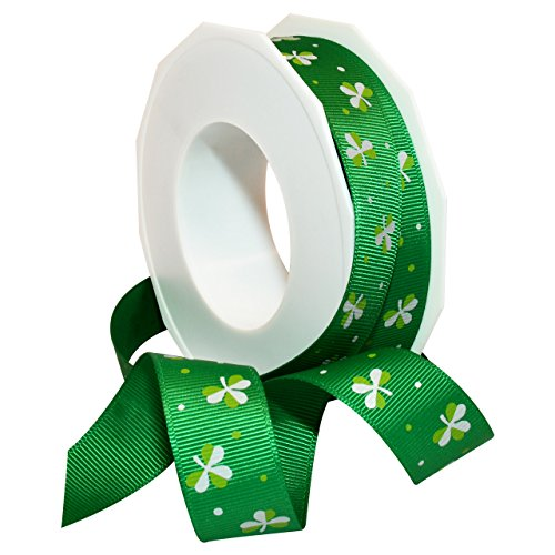 Morex Ribbon Polyester Ribbon Irish Clover, 7/8-Inch by 20-Yard, Emerald
