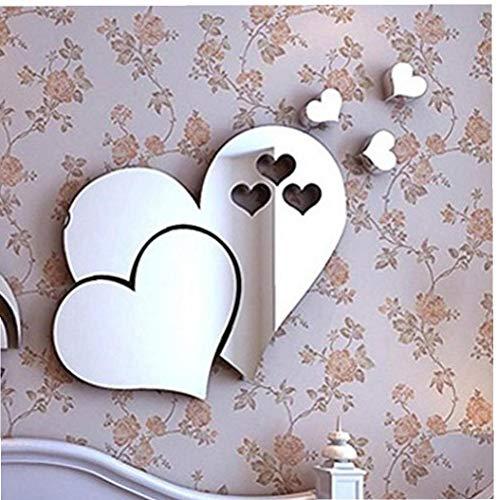 NaiCasy 3D Removable Love Hearts Spiegel-Wand-Dekor-Abziehbild-Aufkleber Wand-Deko Wohnkultur für Kinderzimmer Haus Wohnzimmer Schlafzimmer Badezimmer Wohnzimmer Küche Cafe Restaurant Amt (ps)