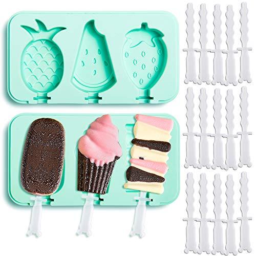 Whaline Silikon-Eisformen mit 18 Stieleisstäbchen, Lebensmittelqualität, wiederverwendbare Eis-Pop-Maker, Eis-Lolly, BPA-frei, 2er-Set, Ananas, Wassermelone (Minzgrün)