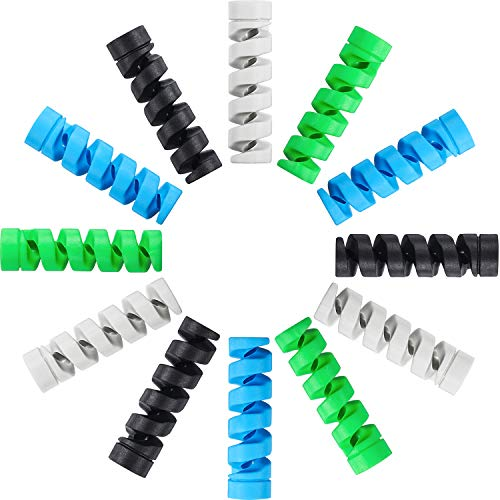 Jetec 24 Pieces Charger Cable Saver, Silicone Flexible Cable Wire Protector, Mouse Cable Protector, Suit for All Cellphone Data Lines (6 Black, 6 Grey, 6 Blue, 6 Green)