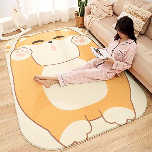 DHGUOOJL Home Lamm Kaschmir Schlafzimmer Teppich, Wohnzimmer Sofa Plüsch Dicke Matte,Gelb,120 * 160cm