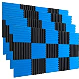 Best Soundproofing Materials - 48 Pack BLACK Blue Acoustic Foam Panel Wedge Review