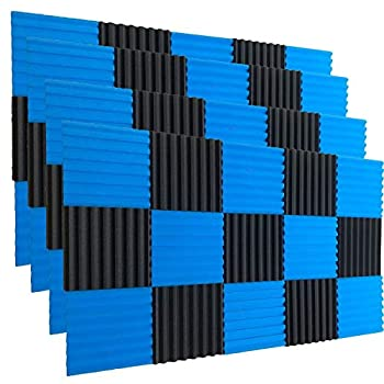 48 Pack BLACK Blue Acoustic Foam Panel Wedge Studio Soundproofing Wall Tiles 12  X 12  X 1