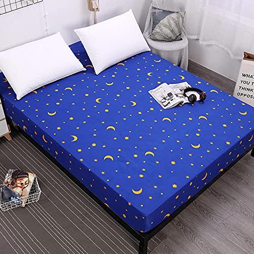 DSman Protector de colchón de Rizo algodón y Transpirable Impresión de sábanas a Prueba de Agua y a Prueba de polvo-16_150cmX200cmX30cm