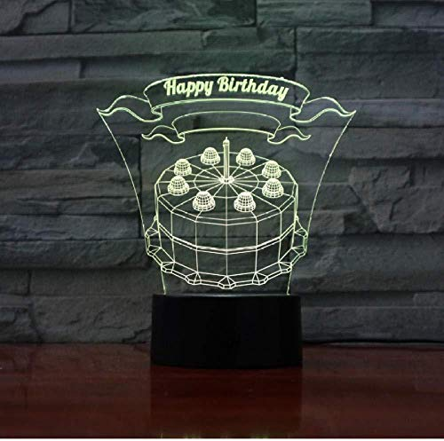 New Happy Birthday 3D Visual LED Nightlight Touch USB Table Lampara Illusion Mood Dimming Lamp Atmosphere 7 Color Amazing Gifts