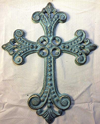 Beautiful and Unique design Antique Gold and Green Patina Celtic Cross, for wall mounting (Ideal for home decor)