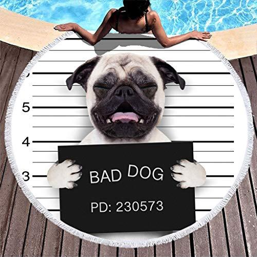 3D Hund Strandtuch mit Spruch Groß Rund Microfaser Strandtücher Strandhandtuch Badetuch Wandteppich Yoga Matten Picknickdecke Stranddecke Strandwurf Weiß 150cm