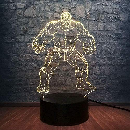 Luz de la noche Maravillosamente exquisita luz de noche 3D colorida película de luz de noche Led figura de Marvel Hulk Avengers Superhero Avengers 7 color cha