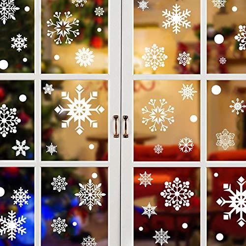 heekpek 492 pcs Schneeflocken Fensterdeko Fensterbilder für Weihnachten Winter Dekoration Türen Schaufenster Vitrinen Glasfronten Schneeflocke Fensteraufkleber Spähen des Weihnachtsmanns (E)