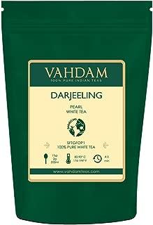 VAHDAM, 2019 Harvest Darjeeling Pearl White Tea | 100% Pure Unblended White Tea Loose Leaf | World's Healthiest Tea | RICH IN ANTIOXIDANTS - 100% Natural Detox Tea, Slimming Tea, 1.76oz (25 Cups)