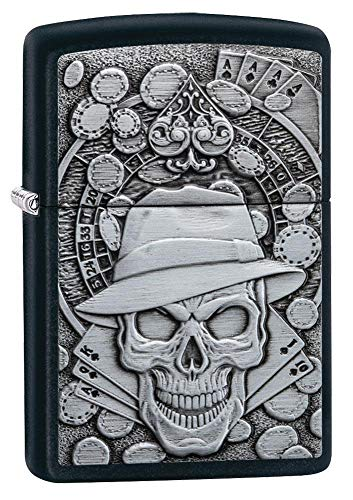 Zippo Unisex Emblem Pocket Lighter Feuerzeug, Black Matte Gambling Skull, Einheitsgröße