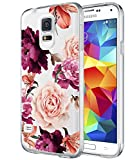 BAISRKE Galaxy S5 Case,Galaxy S5 i9600 Case with Flowers Slim Shockproof Clear Floral Pattern Soft Flexible TPU Back Cove for Samsung Galaxy S5 i9600 [Purple Pink]