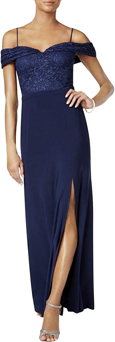 NW Nightway Womens Off-The-Shoulder Full-Length Evening Dress