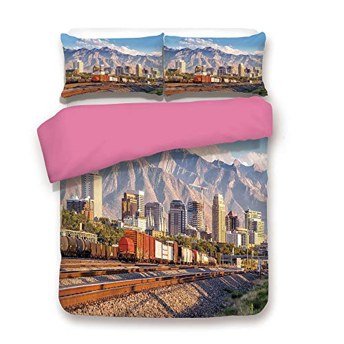Zimmer Landscape 3D Duvet Cover Set Downtown Salt Lake City Skyline in Utah USA Railroads Mountains Buildings Urban Bedding Set Queen,Best Gift for Valentines'Day Birthday Multicolor
