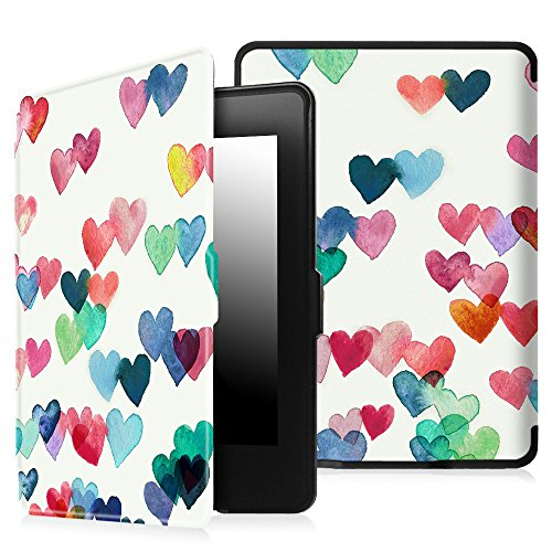 Fintie Slimshell Case for Kindle Paperwhite - Fits All Paperwhite Generations Prior to 2018 (Not Fit All-New Paperwhite 10th Gen), Raining Hearts
