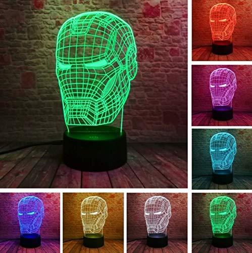 Klsoo Nachtlichter New Marvel Avengers Lampe 3D Kunst Iron Man Maske Nachtlicht Superheld Illusion Stimmung Für Kinder Freunde Papa Kreatives Spielzeug Geschenk