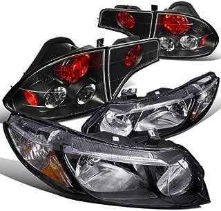 For Honda Civic 4Dr Black Headlights+Tail Brake Lamps