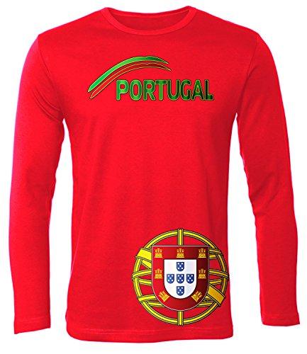Portugal Fan t Shirt Artikel 5175 Fuss Ball Langarm Longsleeve EM 2020 WM 2022 camisola Team Trikot Look Flagge Fahne Futebol Männer Herren L