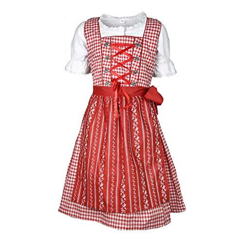 MS-Trachten Kinder Dirndl Trachtenkleid Klara 3 teilig (rotkariert, 104)