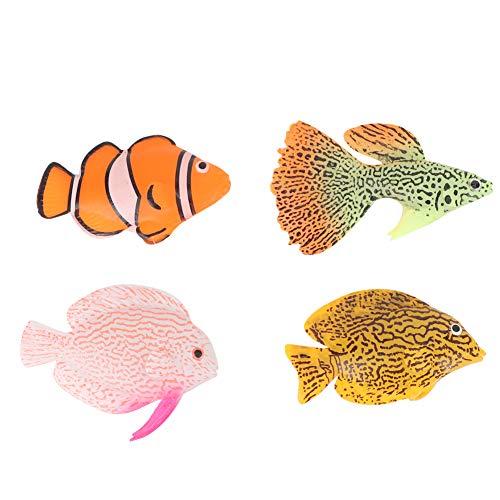 Hebrew ●Geschenk für Weihnachten 4PCS Aquarium Dekoration Aquarium Simulation Fisch, Aquarium Leuchtfisch, für Aquarium Aquarium
