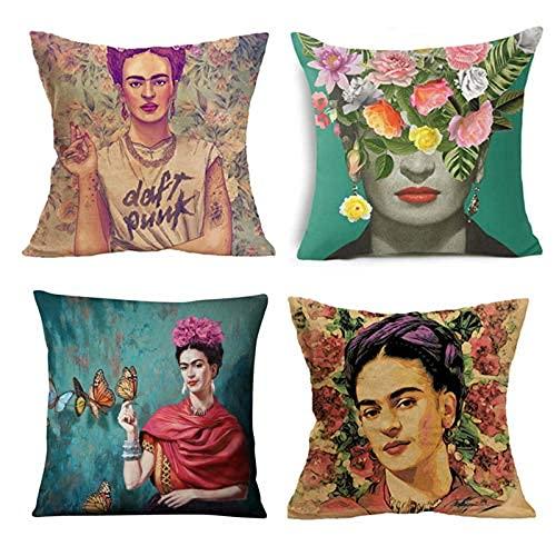 WEAMO 4 PCS Adecuado para Frida Kahlo Cojín de cojín, pintura al óleo para Frida Kahlo Tela Tiro decorativo Cubiertas de almohadas, caja de almohada de silla de sofá, 18 x 18 pulgadas