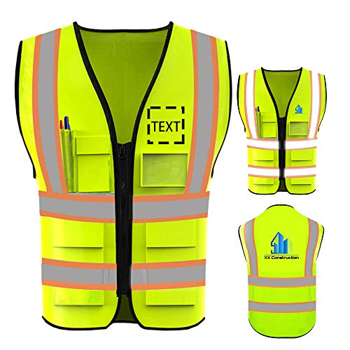 Personalized Custom Your Text/Logo/Image High Visibility Safety Vest Protective Workwear With Reflective Strips (Orange Webbing/Green M)