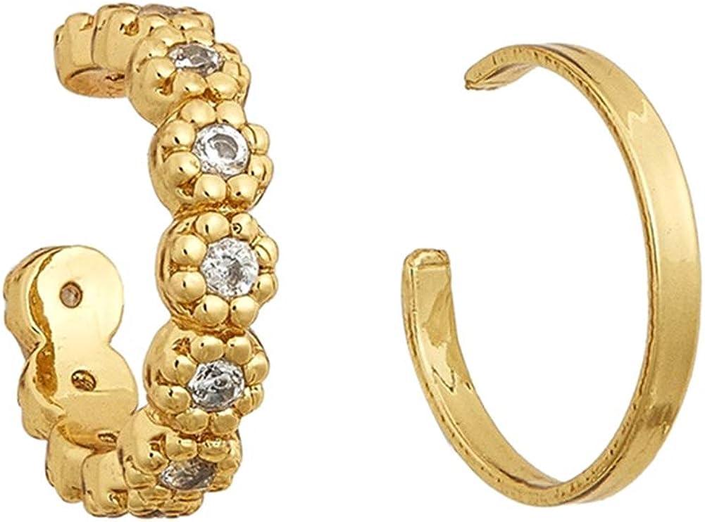 Earrings For Girls Women,2Pcs/Set Lady Rhinestone C Shape Ear Cuffs Clip On Earrings Non Piercing Jewelry - CH0417-Set