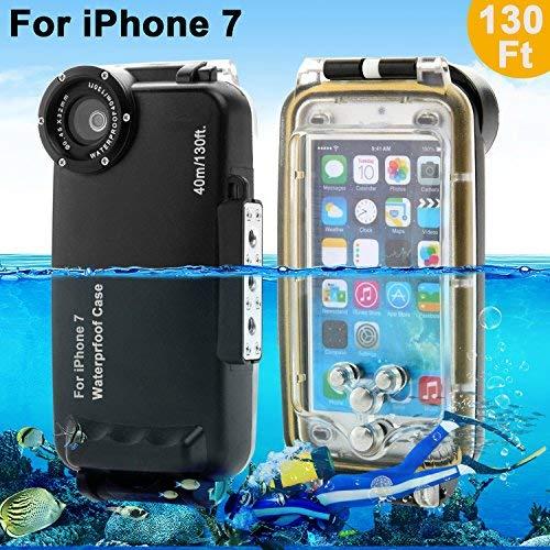 Carcasa estanca Aigumi Funda iPhone 7/7 Plus, Funda de Buceo Profesional, Caja de Buceo 40M Funda impermeable IPX8 con rosca de 32mm