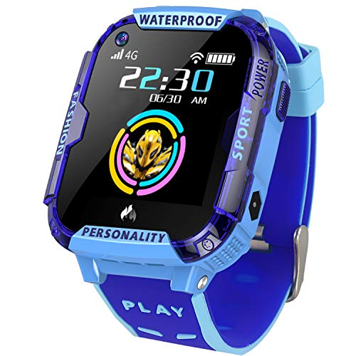 GreaSmart 4G LTE Kids Smart Watch Phone- Waterproof WiFi GPS Tracker Wrist Watch for Boys Girls Toddler Kids Smartwatch with Pedometer Camera SOS Call Video Chat Touch Screen Birthday Gifts (Blue)