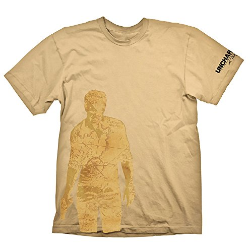 Meroncourt Nathan Drake Map Silhouette T-Shirt, Beige, XX-Large Homme
