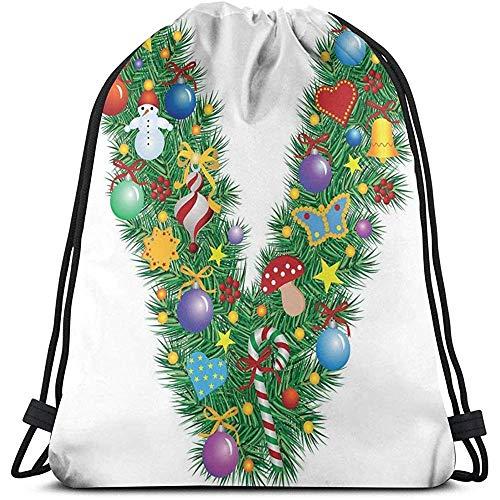 Trekkoord Rugzak Tassen Sport Gym Cinch Tas, Ornament Kerstboom Ontwerp Kapitaal V Feestelijke Elementen Klokken Snoepjes Print