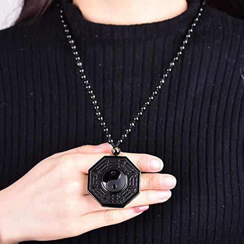 LVYAN Collar de obsidiana Negra Ying Yang Chino Ocho diagramas Amuleto Colgante Joyas