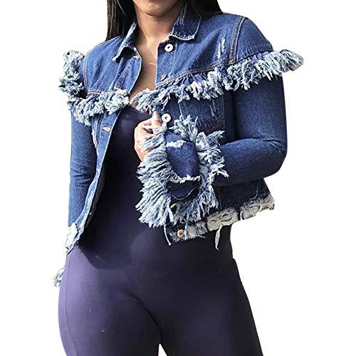 Quaste jeansjack dames Briskorry vrouwen jas herfst gebreide jas overgangsjas knoopsluiting lichte jas denim casual winterjas outwear