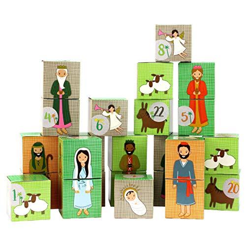 PaPIerDraCHeN Calendario dell'avvento Fai da Te da riempire - Set di scatole - Motivo Natività - 24 scatole Colorate di Cartone da Mettere su e riempire - 24 scatole - Natale.