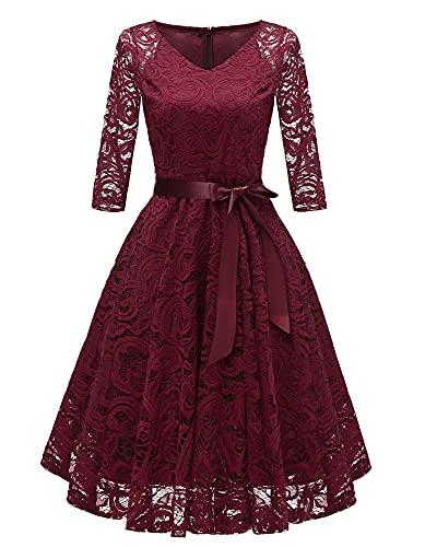 Laorchid Vintage Damen Kleid 3/4 Ärmel Floral Spitzenkleid Swing Cocktailkleid Burgundy M