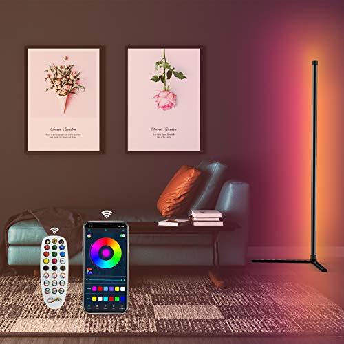 TOCLL lámpara de pie Salon LED Regulable, Cambio de Color, Control por aplicación, Mando a Distancia de 24 Teclas, RGB, Todo el Espectro con 16 Millones de Colores, Potencia USB de 156 cm
