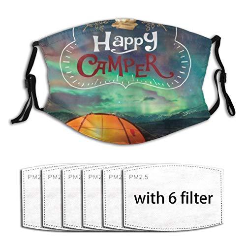 ZORMIEY Face Cover Glücklicher Camper Aurora Borealis Nachthimmel und orange Zelt mit Lagerfeuer und Typografie Wiederverwendbare Anti-Staub-Mund-Bandanas mit 6 Filtern