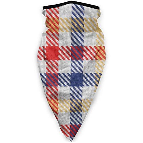 MJDIY windbestendige gezichtsbescherming, geruit, vichy-ruiten, driekleurig, rood, geel en blauw, zachte bandanas voor klimmen, kamperen, wandelen