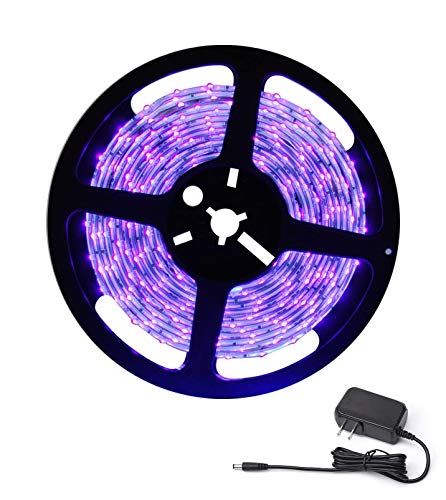 DeepDream Waterproof Black Light LED Blacklight UV Strip 300 LEDs 16.4Ft/5M with 12V Power Supply, Bedroom DJ Party Halloween Christmas Room Decoration IP65 for Outdoor Glow in the dark