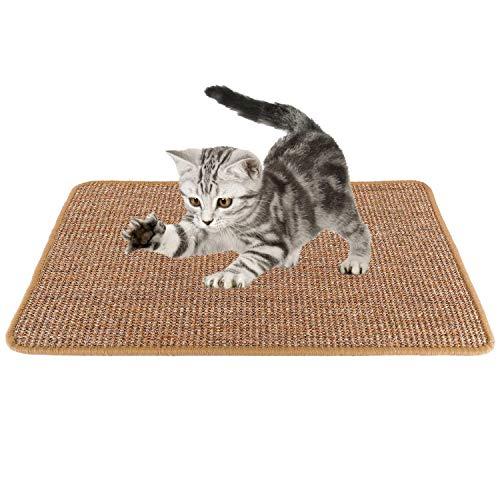 SlowTon Kratzmatte für Katzen, Natürliches Sisal-gewebtes Seil-Kratzkissen für Katzenkratzkrallen,Strapazierfähiger Rutschfester Boden Katze Spielt schlafendes Kratzspielzeug 60 * 40CM