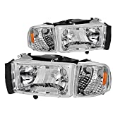 SOCKIR Headlight Assembly Compatible with 1994-2002 Dodge Ram 2500 3500/1994-2001 Dodge Ram 1500 Driver and Passenger Side (Chrome Housing)