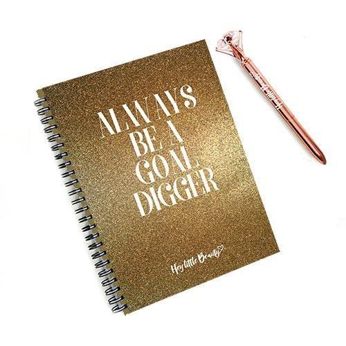 Afslanken Wereld Compatibel 8 Week Motivationele Planner voor Gewichtsverlies - Wees altijd een Goal Digger & Diamante Rose Gold Pen