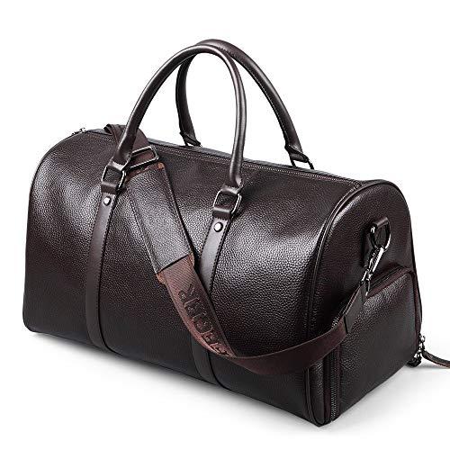 QuRRong Gepäcktasche Herrenledertaschen PU Hochwertige Reisetasche Einfach, Zwei Farben Zu Tragen Wochenendreisetasche (Color : Black, Size : 44x19x26cm)