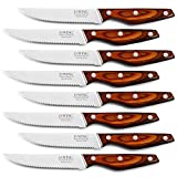 Professional 8-Piece German High Carbon Stainless Steel Steak Knife Set, Premium Full Tang Steak Knives with Pakkawood Handle