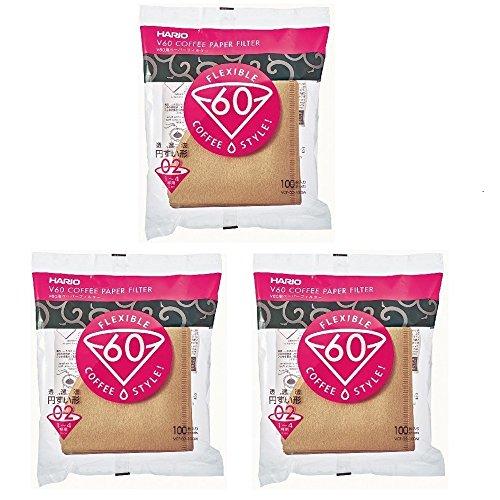 Hario V60 Papier-Kaffeefilter, Größe 02-3 - 100 Stück (insgesamt 300 Filter) Import Japan - Natural Paper